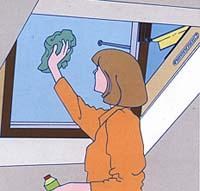 ניקיון של החלון מתבצע מתוך הבית